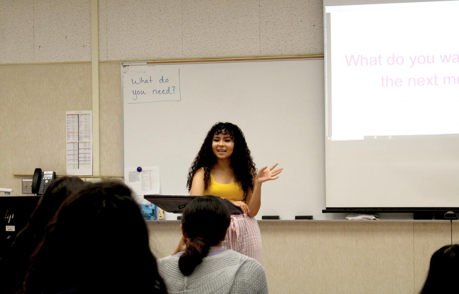 Cassandra Flores, President of Cosmetology Club welcoming new members.