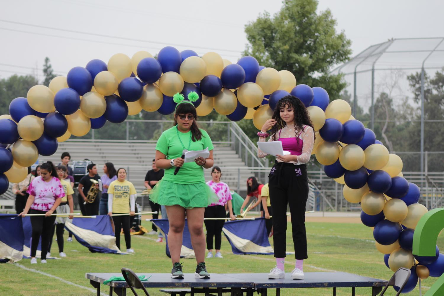 Audrey Figueroa (left) and Cassandra Flores (right) warming up the crowd.  Photo By SEMHS Yearbook Staff