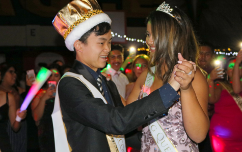 2019 Homecoming King Ethan Tat dances with Homecoming Queen Liyah Rangel