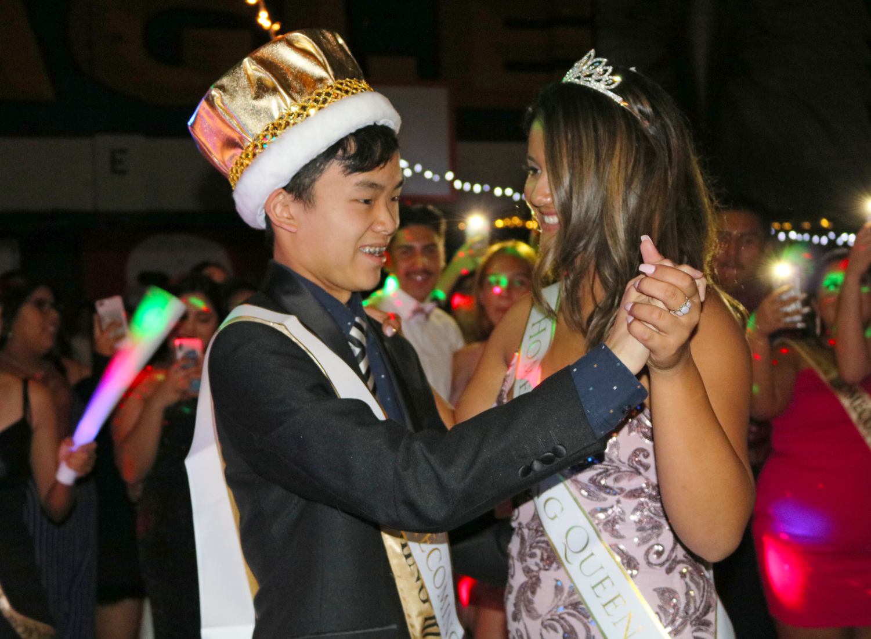 2019 Homecoming King Ethan Tat dances with Homecoming Queen Liyah Rangel