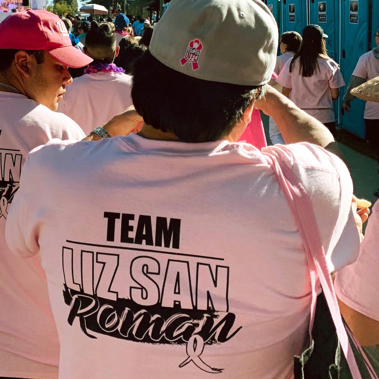 Team Liz San Roman shirts in memory of Mr. Escamilla's sister