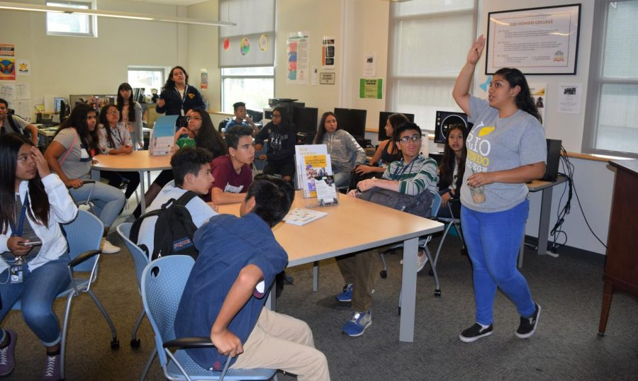 Students receive presentation from Rio Hondo College instructor on the safety sector and possible careers in that field.