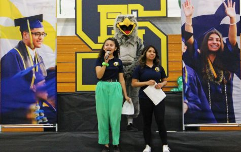 Cassandra Flores, junior, hypes up the crowd during the 8th Grade Visit