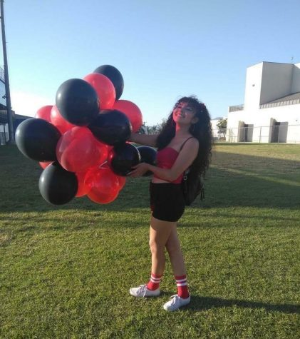 Cassandra Flores, ASB president, getting ready for a rally.